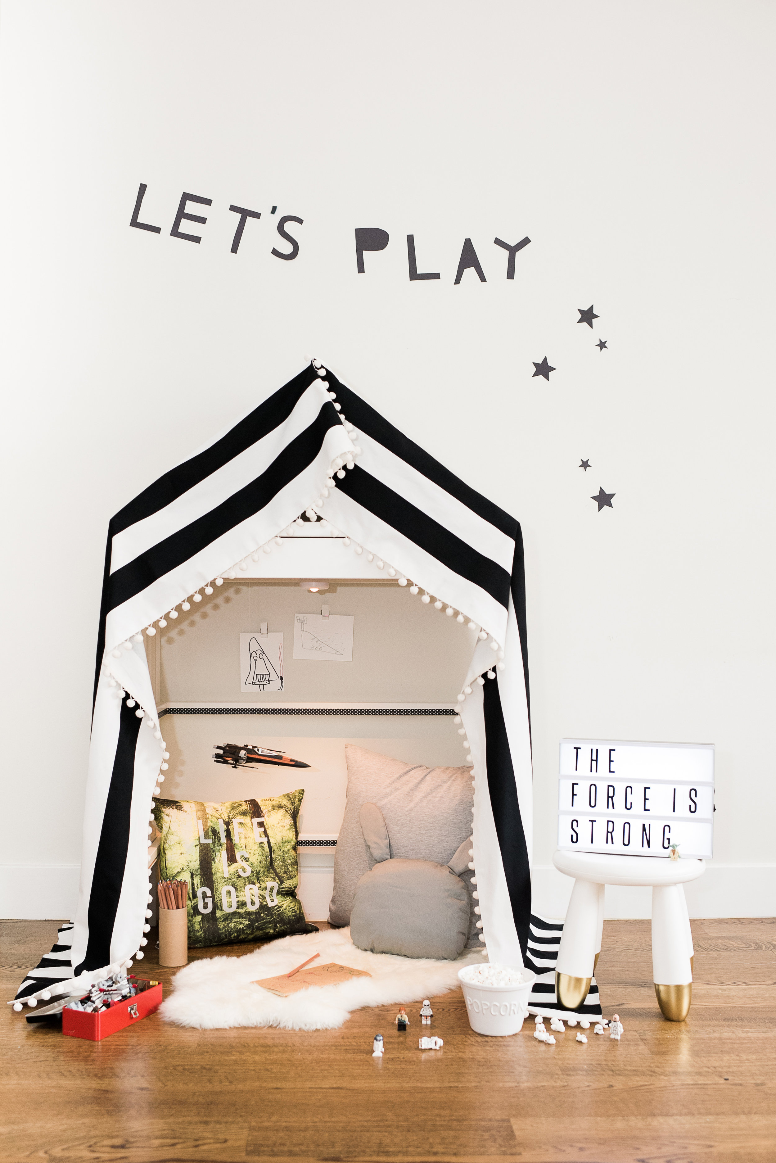 My son loves to play make believe and since our home is so small, I though it would be nice to create a space just for him. Get the full tutorial on how to make this your own  here .