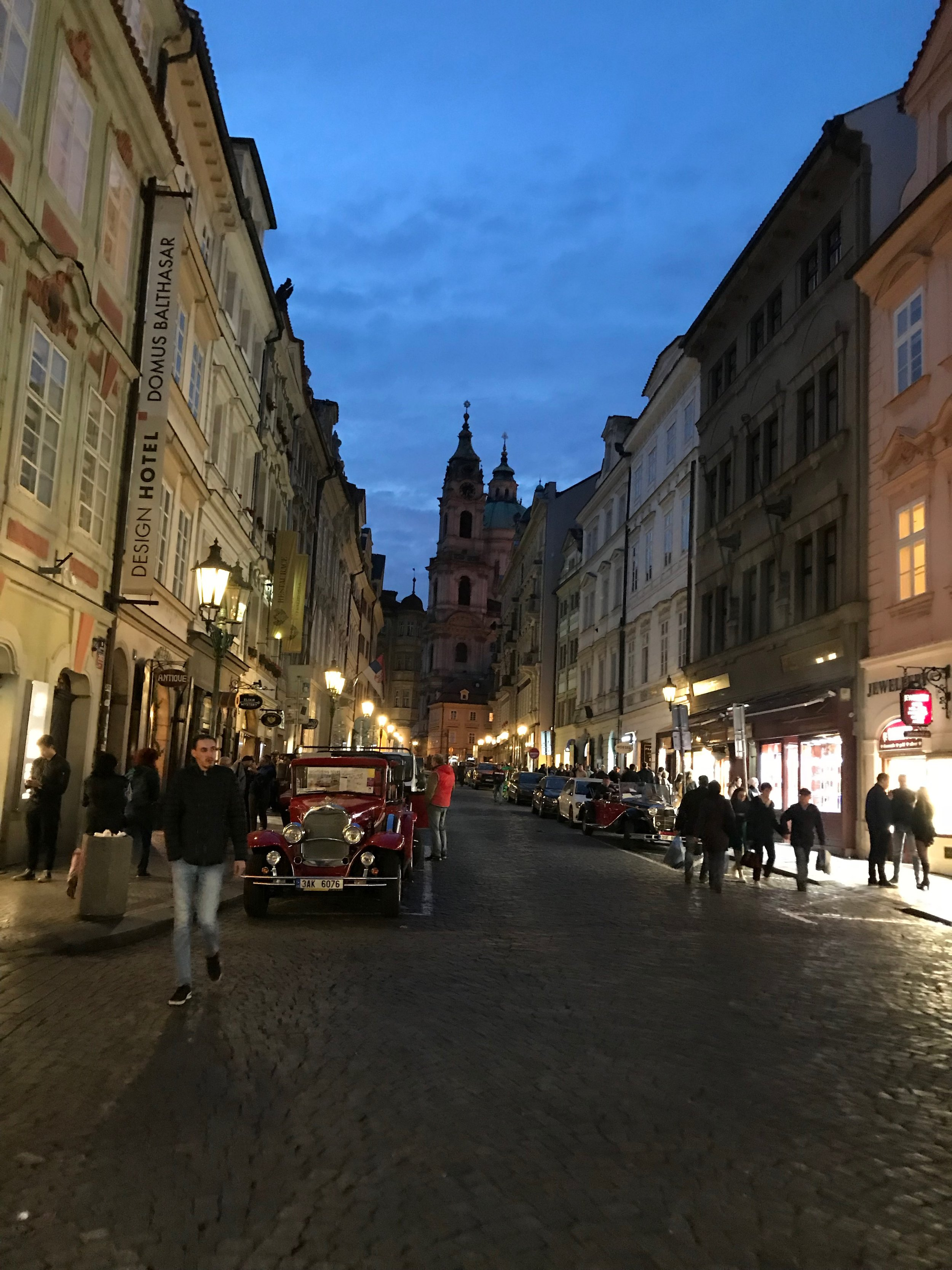 We crossed as the sun was setting into Mala Strana (our favorite part of town)