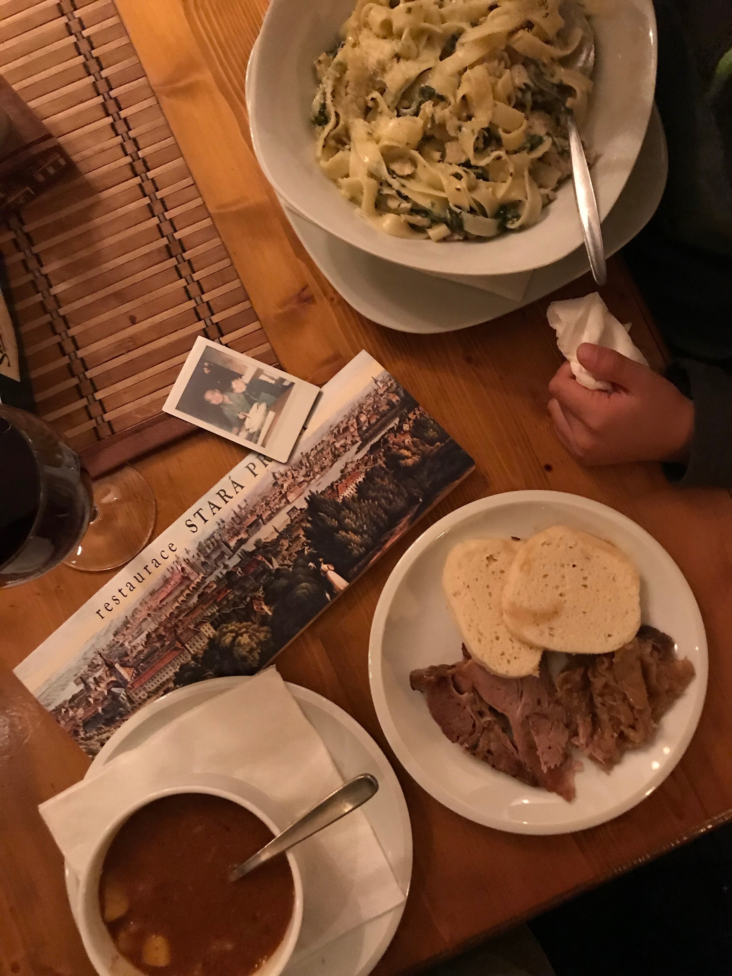 We went left off the bridge and got a little lost but found this place for a warm meal. I suggest you make a right off the bridge into the heart of Mala strana- many more shops and places to eat!
