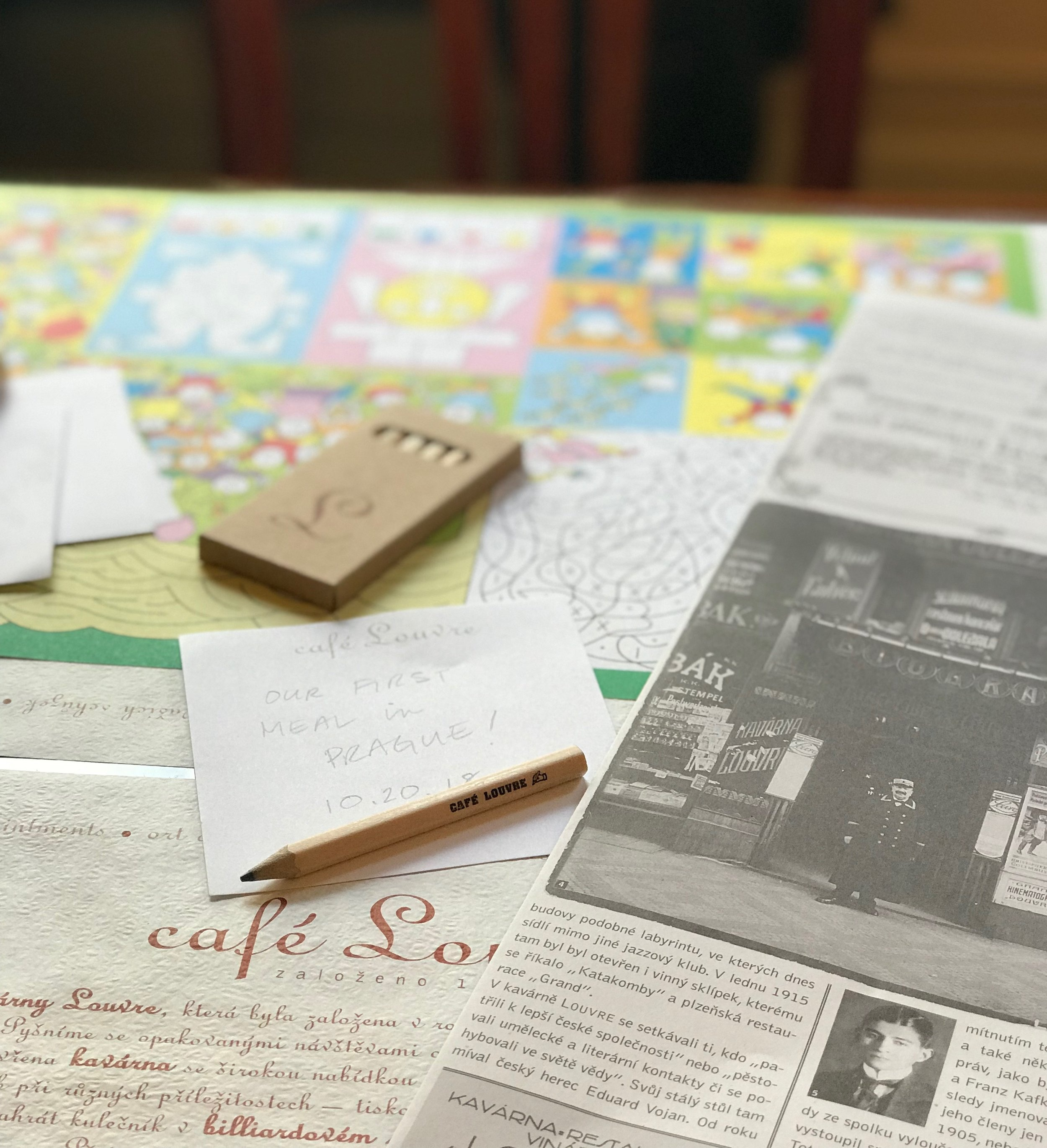 Very kid friendly with crayons and activity sheets and this fun vintage style newspaper about the cafe's history.