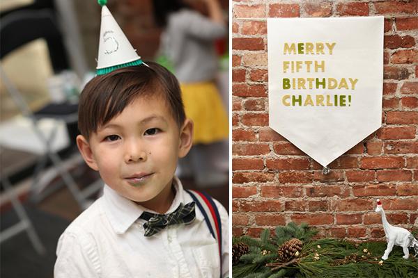 the birthday boy modeling the party hat + custom felt banner