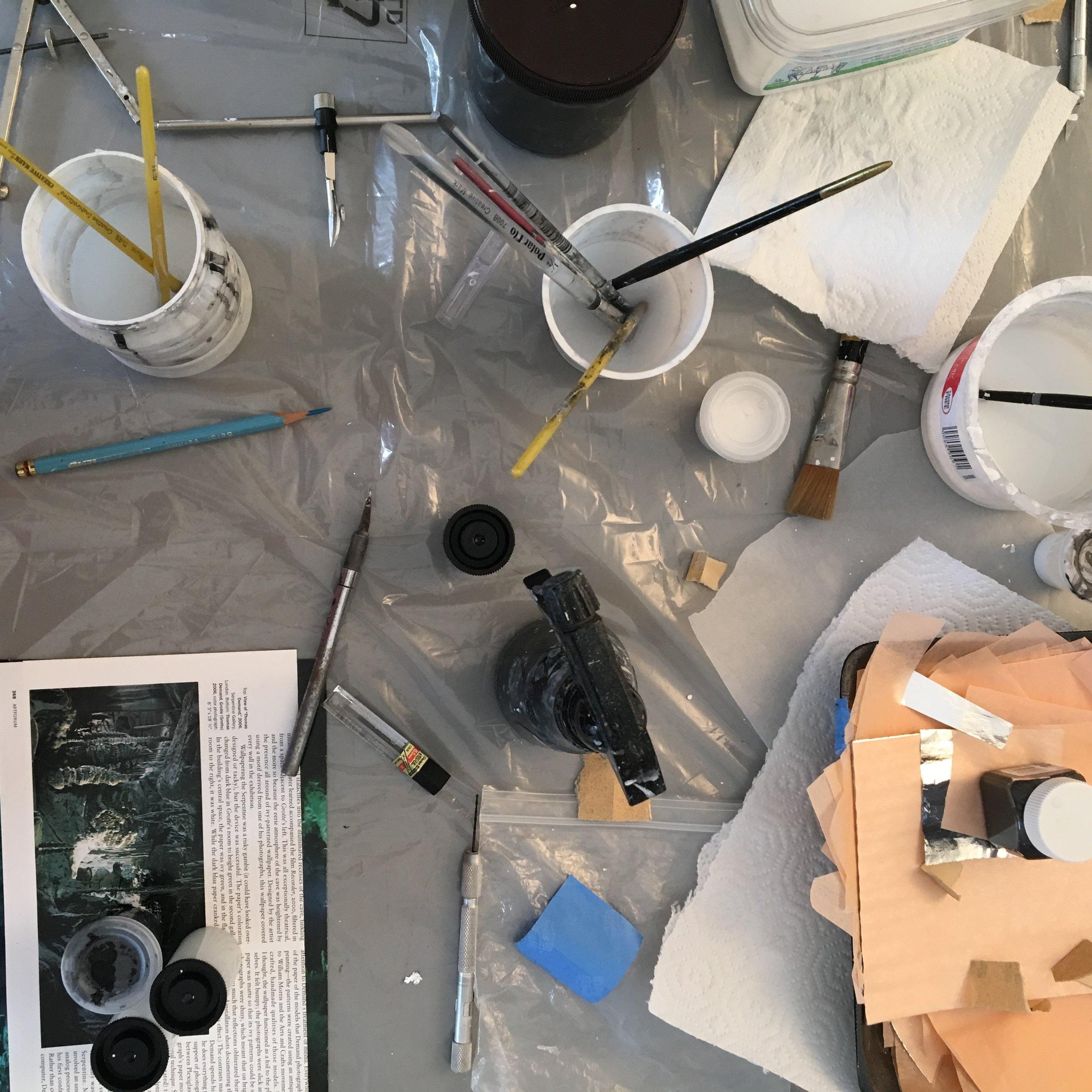 Carol Prusa's work table.