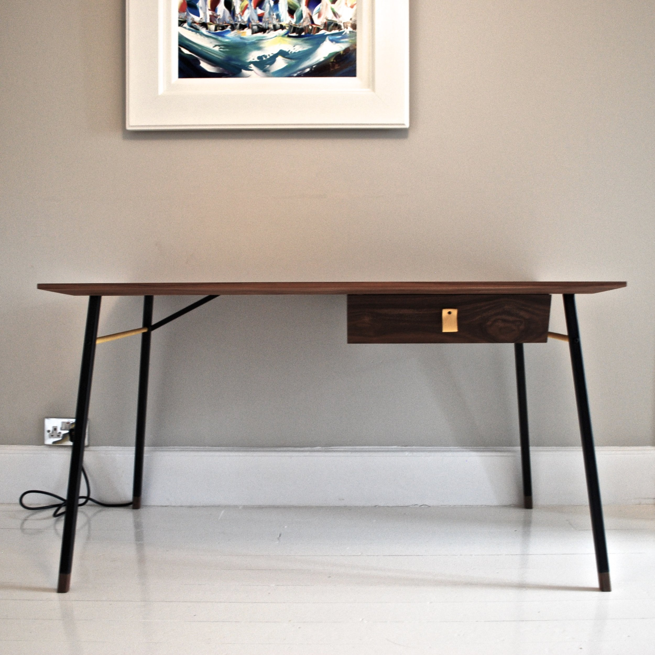 bespoke walnut, steel and leather desk