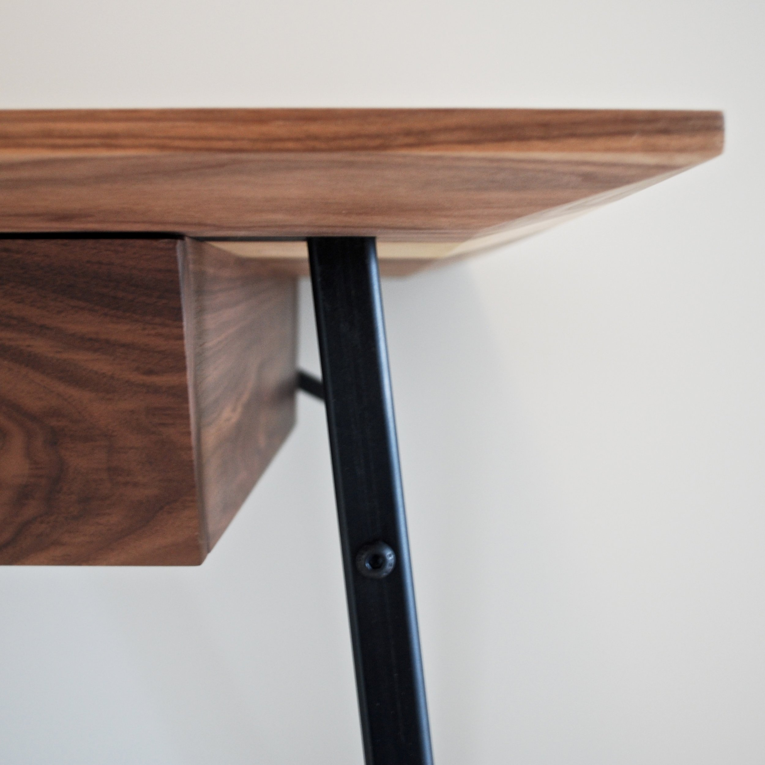 Handmade bespoke Walnut, steel and leather desk