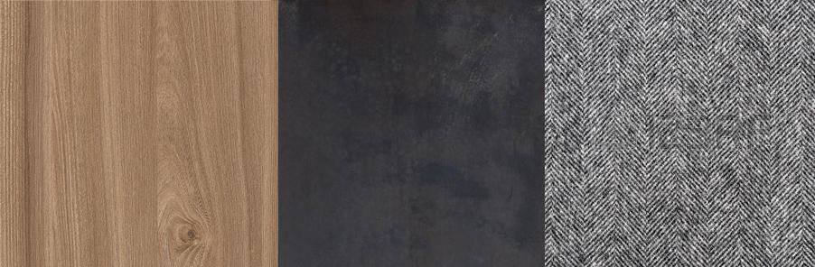 Elm | Hand Blackened Steel |Grey Herringbone Wool Flex
