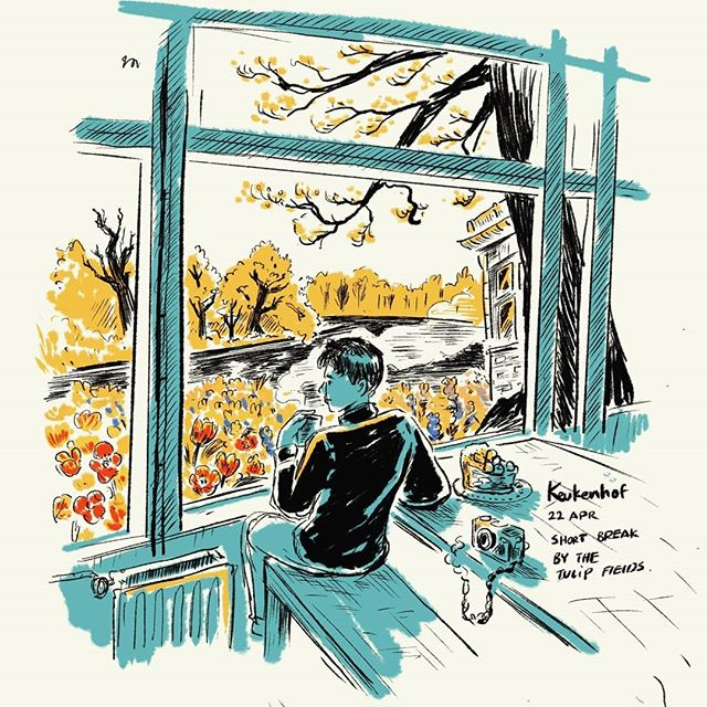Taking in the view and the dutch apple pie at @visitkeukenhof  #keukenhof #tulips #ipad #procreate #doodlesofinstagram #urbansketching #selfportrait