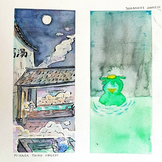 First of a series of painting done with Lynn on our Hokkaido trip 👨‍🎨👩‍🎨. A panel depicting the things we saw each day.  Hokkaidi Day 5 is Mikasa Taiko Onsen & Kappa from Jozankri Onsen Town♨️ #LynnDraws #DaleXLynn #illustrationoftheday #illustration #doodle #instaartist #painting #watercolour #inking  #hokkaido #jozankei #sketchbook