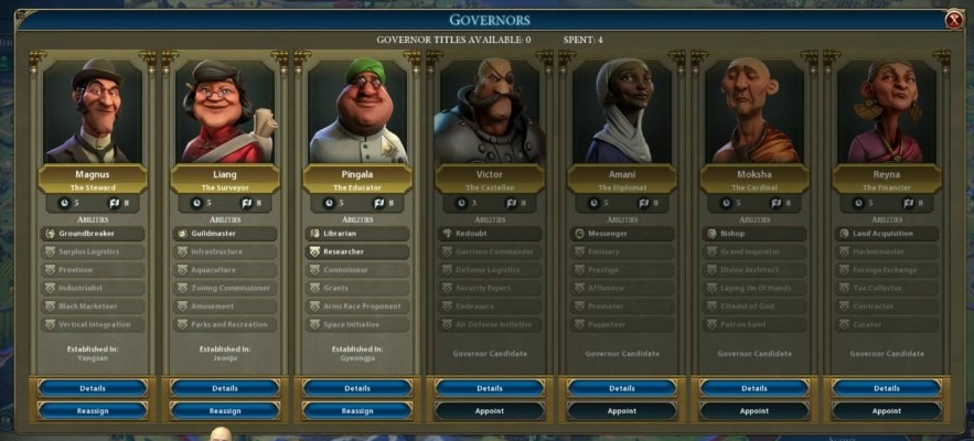 UI Design for Governor Panel, Including Graphics and Layout - Civilization VI: Rise and Fall