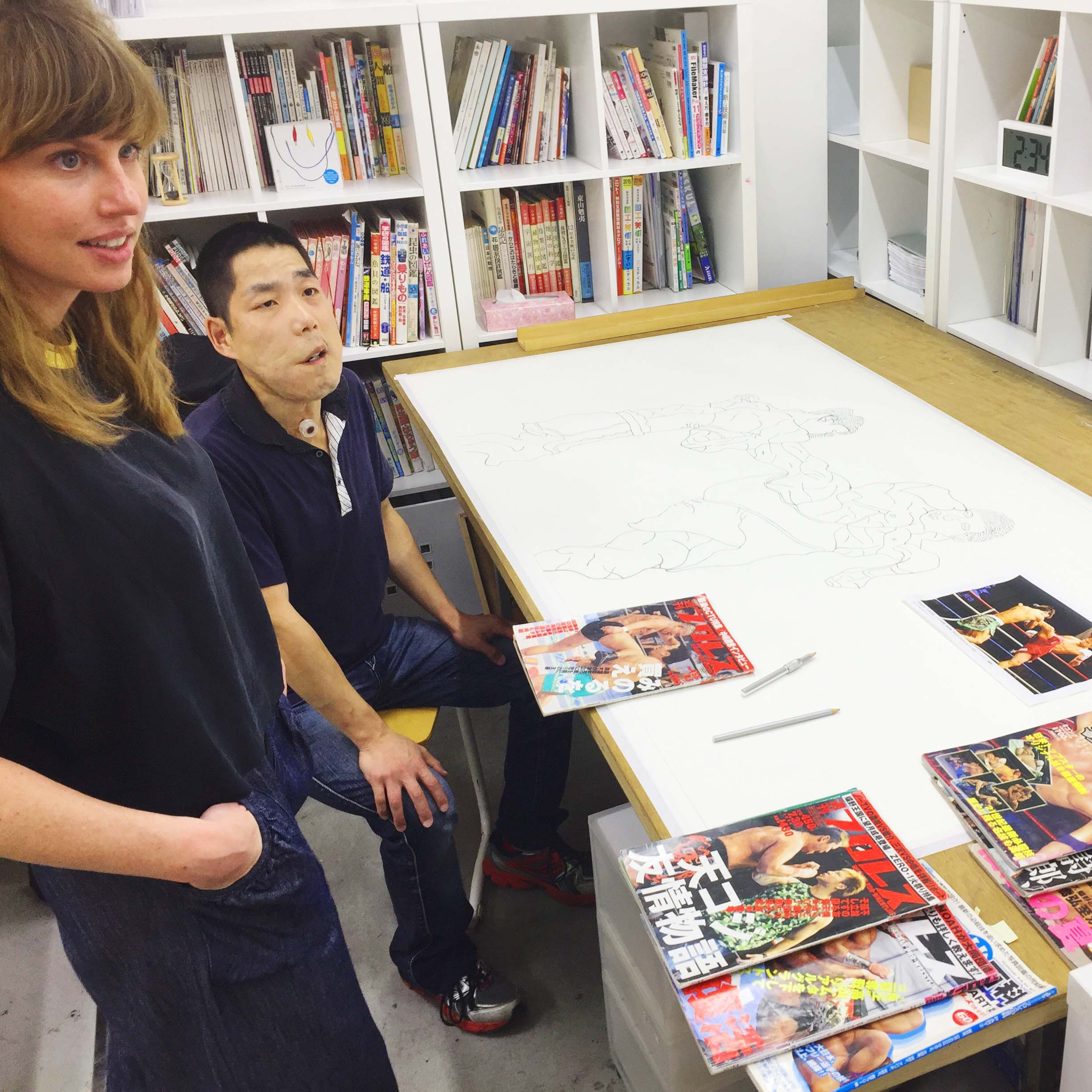 Lisa Slominski with artist Tomoyuki Shinki at Atelier Incurve, Osaka, Japan in 2017.
