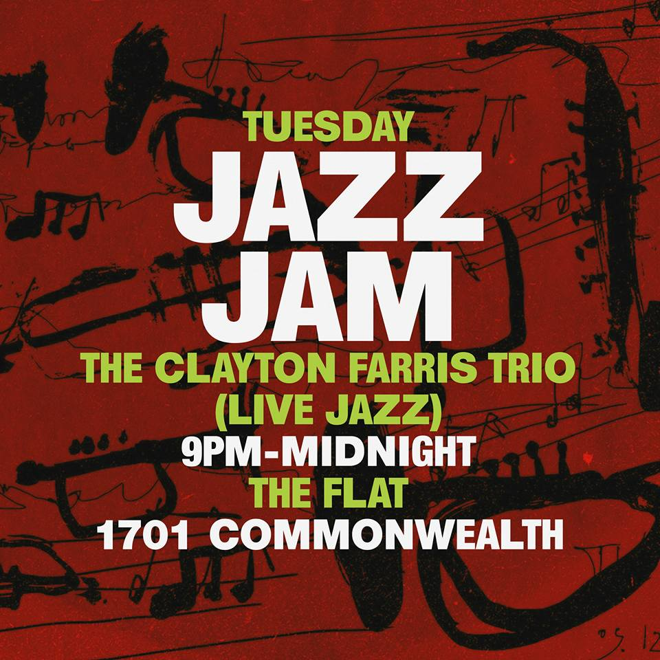 9pm-2am    Come enjoy live jazz by Clayton Farris every #Tuesdaynight    #livejazz will go on all night from 9pm-12am    #happyhour 4pm-7pm    Rotating dj 12pm-2am    Night: Jazz Specials 7pm-2am    $8 Metropolitan  $8 French 75  $8 Madrid  1$ OFF ALL DRAUGHTS  1$ OFF ALL Glasses of wine  #nocover