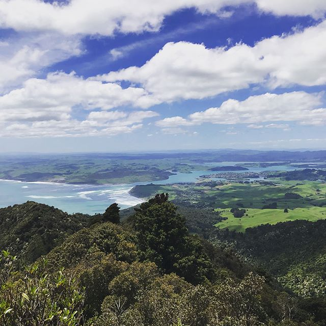 Today we took on Mt. Karioi in #Raglan. It was an intense hike straight up the mountain in a dense forest full of muddy, slippery trails, but it was well worth the effort! While we didn't make it all the way to the summit, we hiked to a Lookout and saw this amazing view of the town of Raglan. I also faced my fear of climbing up and down steep wet rocks using a chain for a rope. I highly recommend this hike while in NZ if you're looking for a good workout with breathtaking scenery. Make sure you have good hiking boots and are ok getting dirty 😘.
