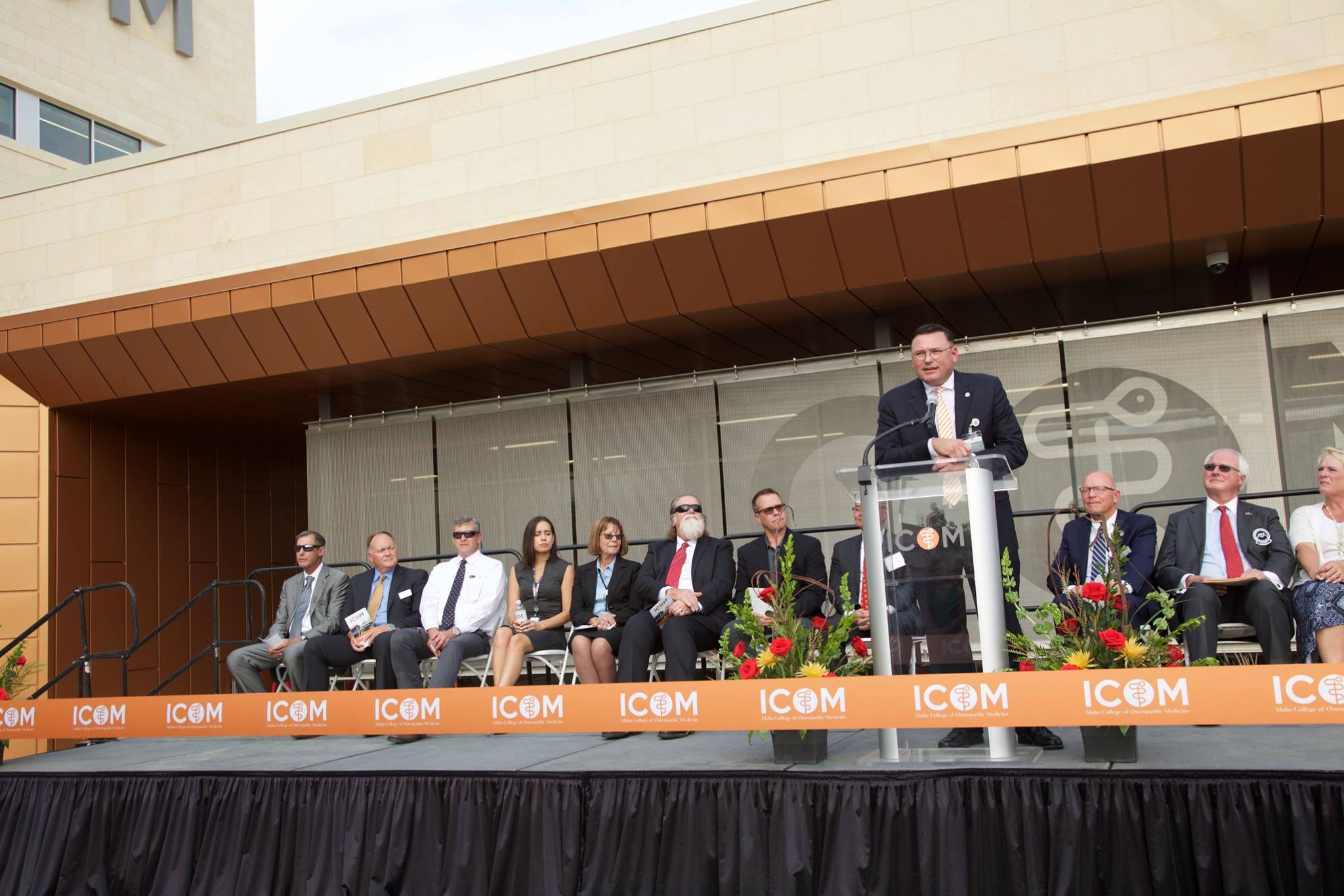 Dr. Hasty addresses the crowd during ICOM's ribbon cutting event on September 5, 2018.