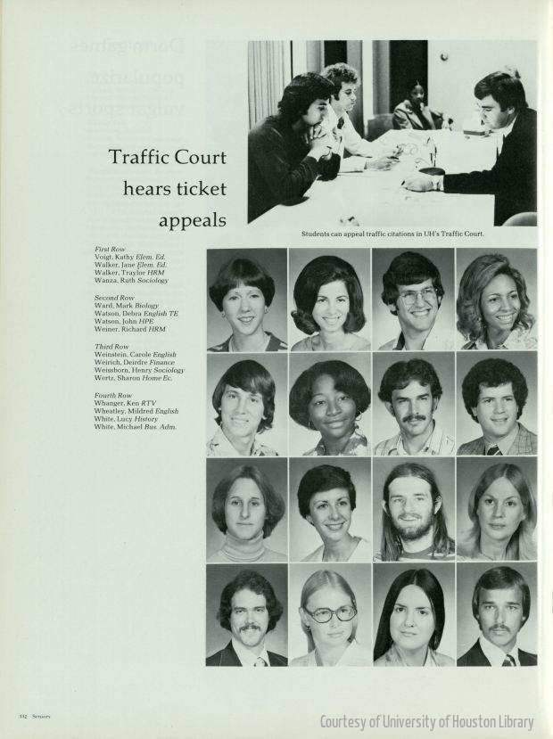 STUDENTS OF THE   UNIVERSITY OF HOUSTON  .   HOUSTONIAN 1977 – SENIORS: VOIGT – WHITE.   HOUSTONIAN YEARBOOK COLLECTION. SPECIAL COLLECTIONS,   UNIVERSITY OF HOUSTON LIBRARIES  .