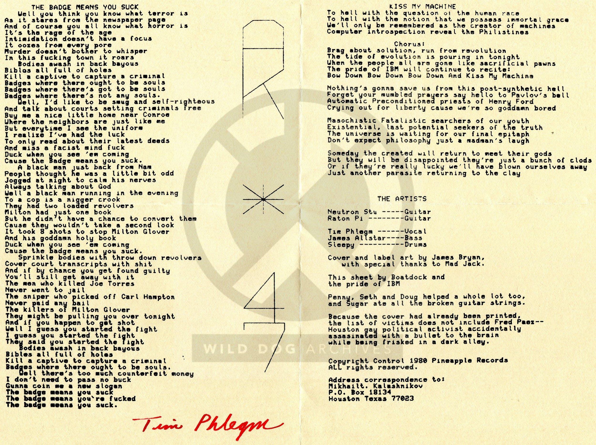 Original signed lyric sheet courtesy of Wild Dog Archives.