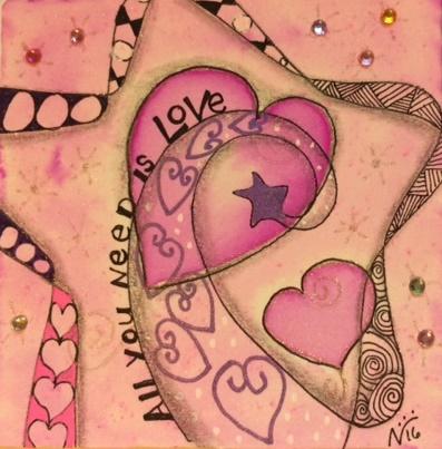 Zentangle, Doodle, Hearts, Art Tile, Stencil, gems
