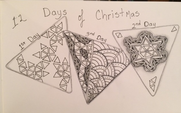 Zentangle, Doodle, 3Z 12 Days of Christmas, Challenge, Holiday, Art Tiles, Journal
