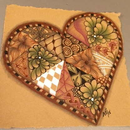 Valentangle Day 2 - Use green and heart string