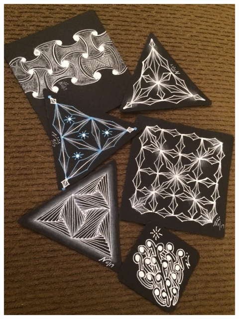 Example of Purely Black Zentangle tiles