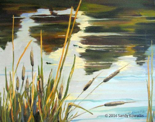 Autumn Water Scene  - oil 16 x 20