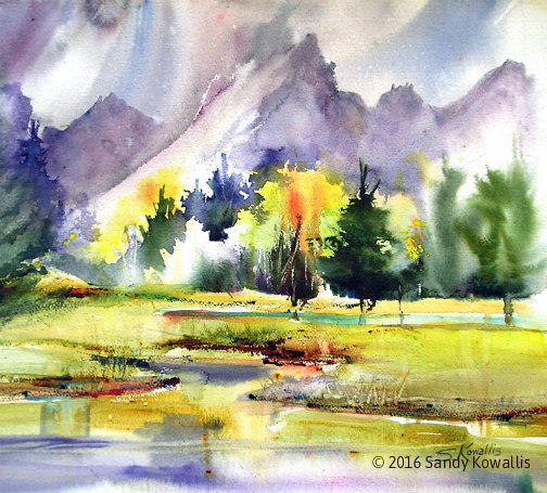 Beaver Pond in the Tetons - watercolor 14 x 14