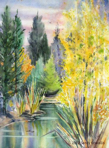 Ockenden Pond - watercolor 30 x 36
