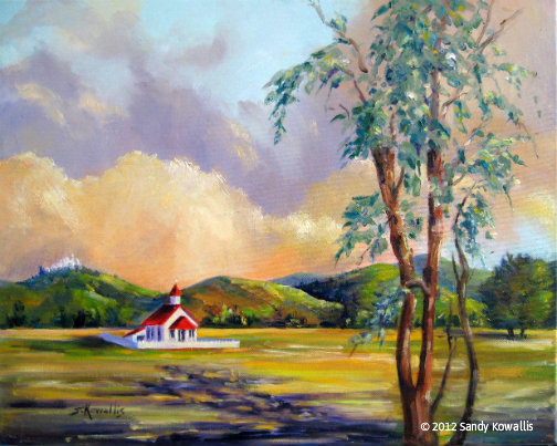 Old San Simeon Schoolhouse - oil - 16 x 20
