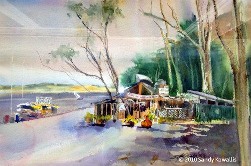 Bayside Cafe Morro Bay - watercolor 22 x 28