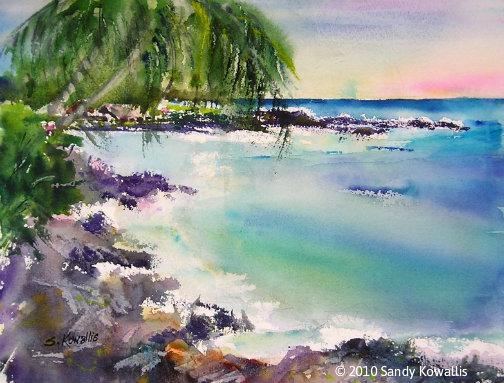 Kahalu'u Bay Hawaii - watercolor 11 x 14
