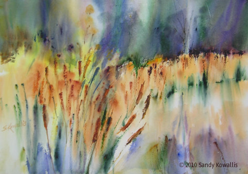 .Reeds on the River - watercolor 22 x 28