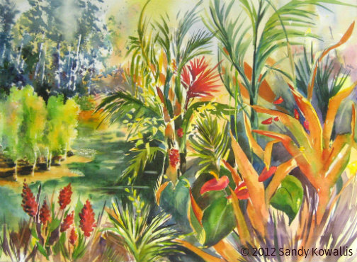 Joy's Garden, Hawaii Coffee Farm - watercolor