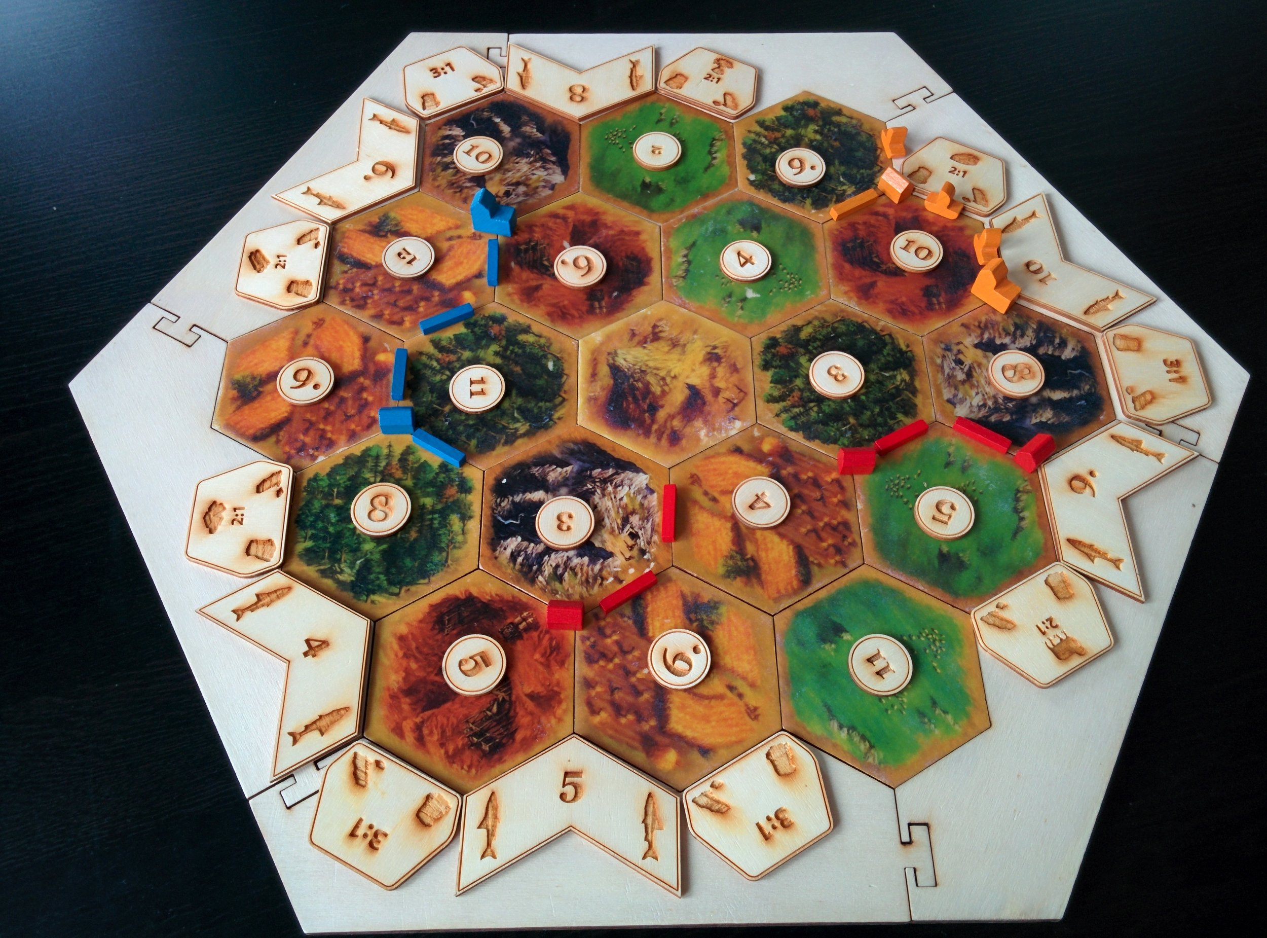 Handmade Wooden Settlers Of Catan Board Board Games Enhanced