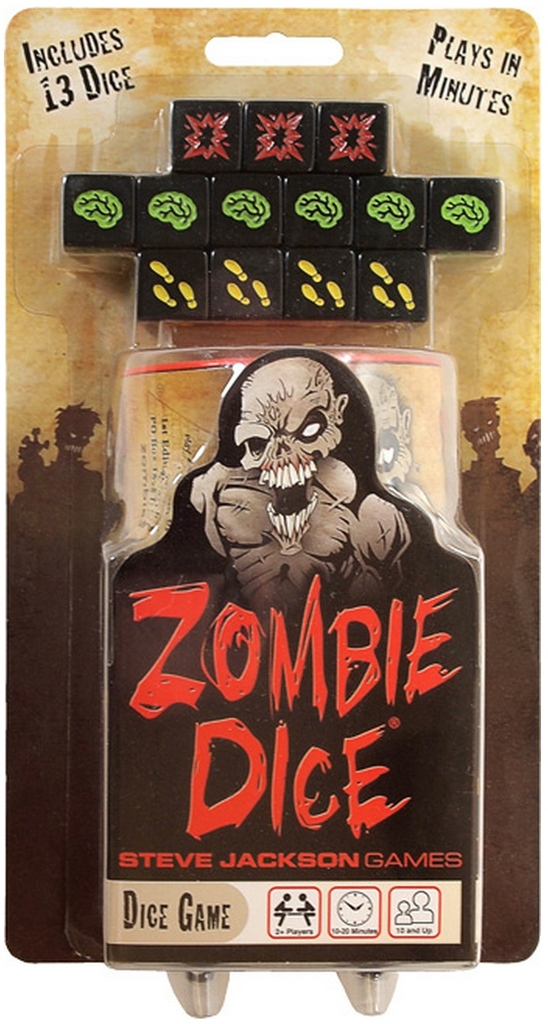 Zombie Dice board game box cover art