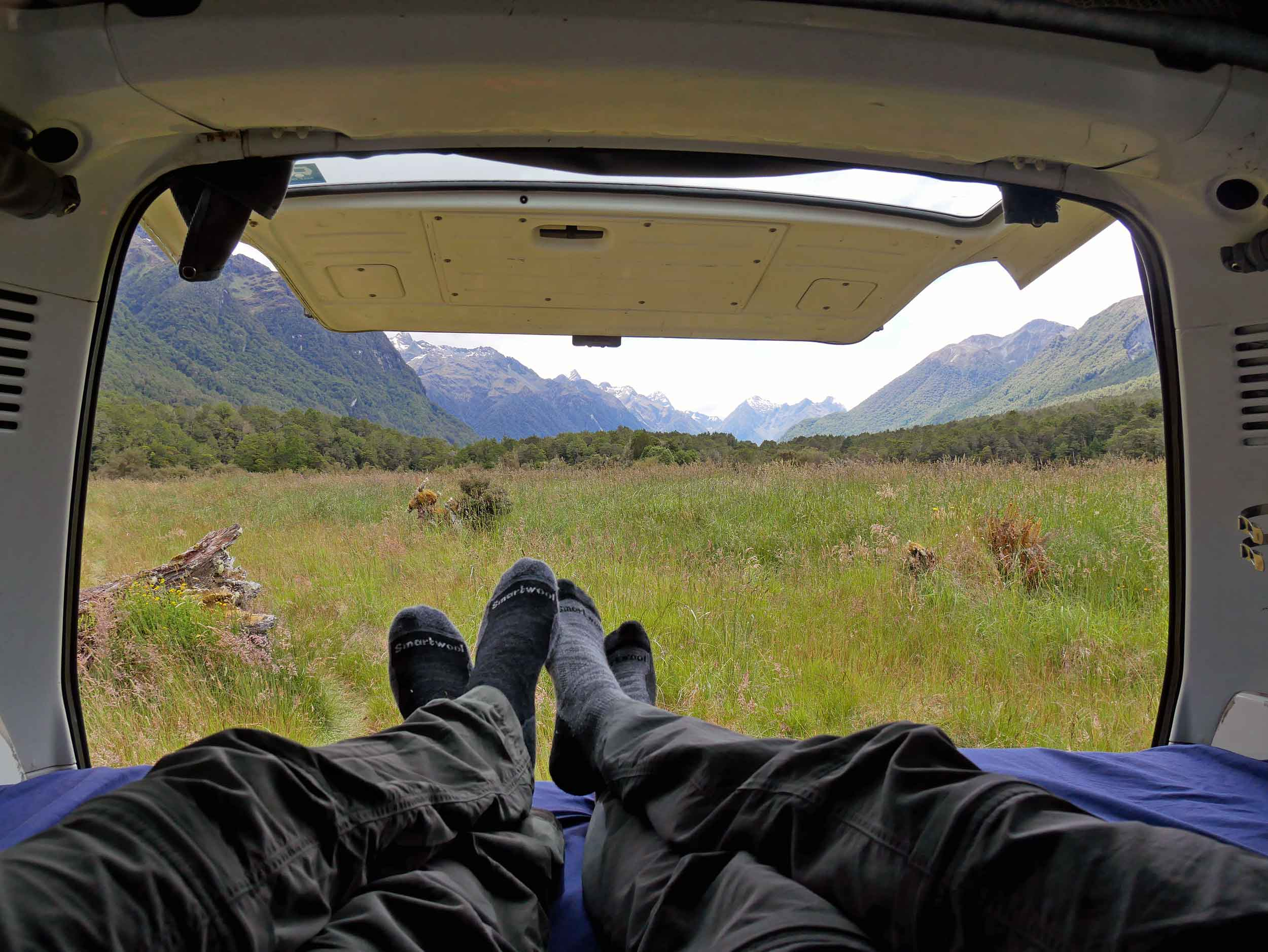 Putting our feet up in Deer Flat en route to NZ's majestic Milford Sound (Jan 8).