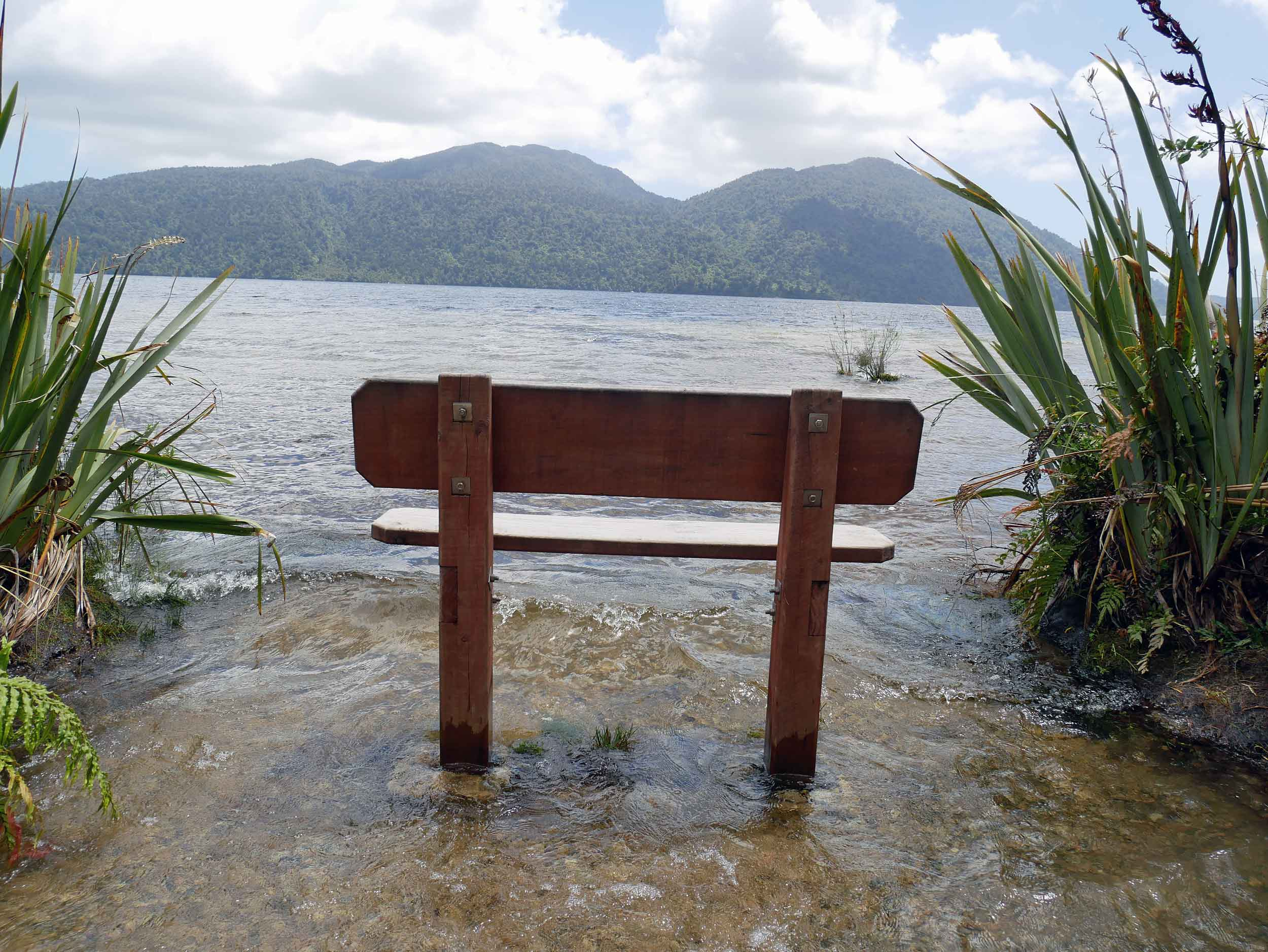 High tide at Lake Kaniere near Dorothy Falls and Hokitika, which was our first stop on the West Coast after braving Arthur's Pass (Jan 5).