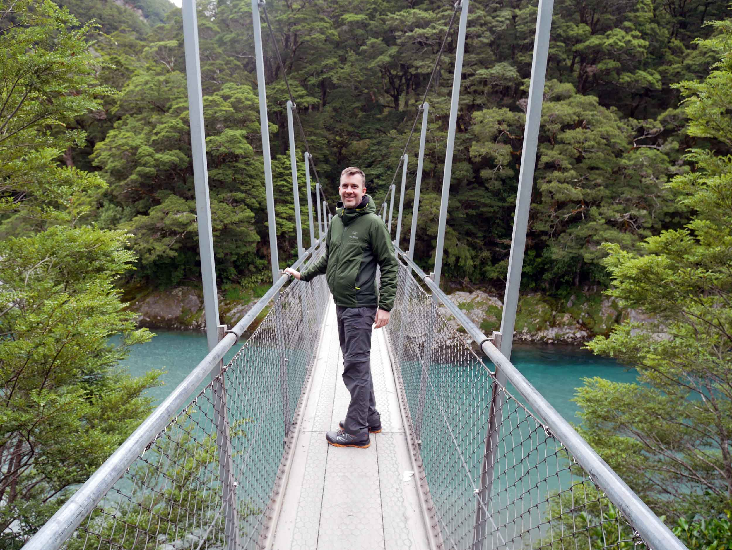 The Hokitika Gorge features ice blue water and a famous swing bridge (Jan 5).