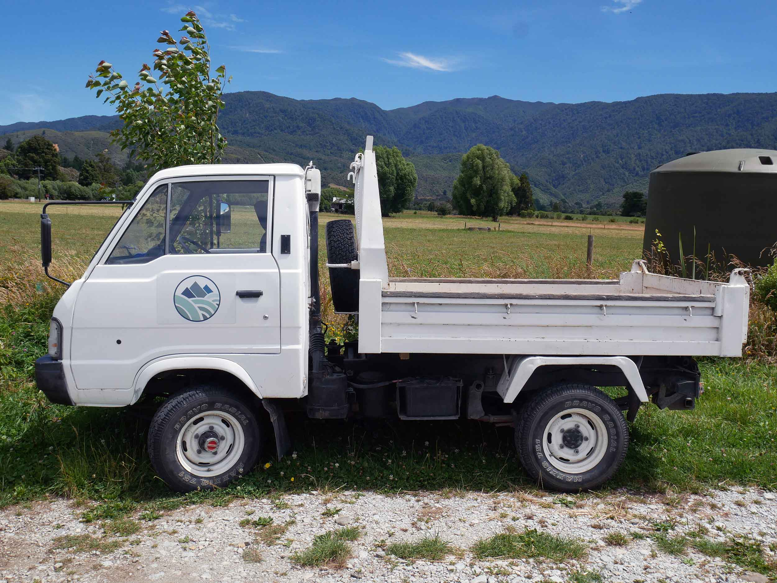 The trusty Puramahoi Fields truck, which does everything from delivering veggies to market to moving the chicken coop!