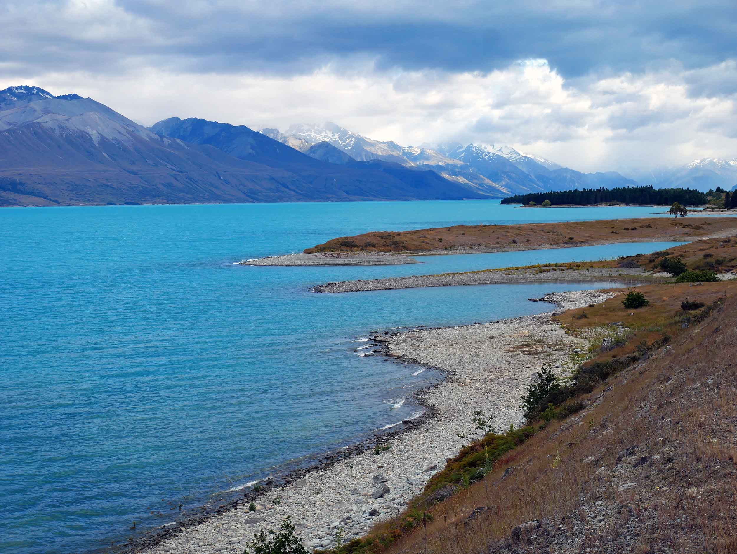 One of three parallel Alpine lakes, Lake Pukaki was formed when moraines of a receding glacier blocked its valley. The glacial runoff gives it a distinctive blue color (Jan 11).