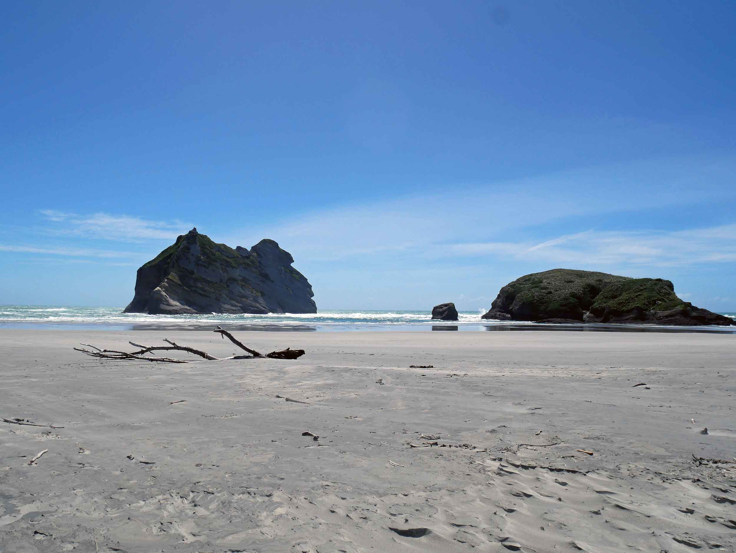 Low tide (during a full moon, no less) presented massive beach at Wharariki, which is only accessible via a 20-minute walk through paddocks and rolling hills (Jan 13).