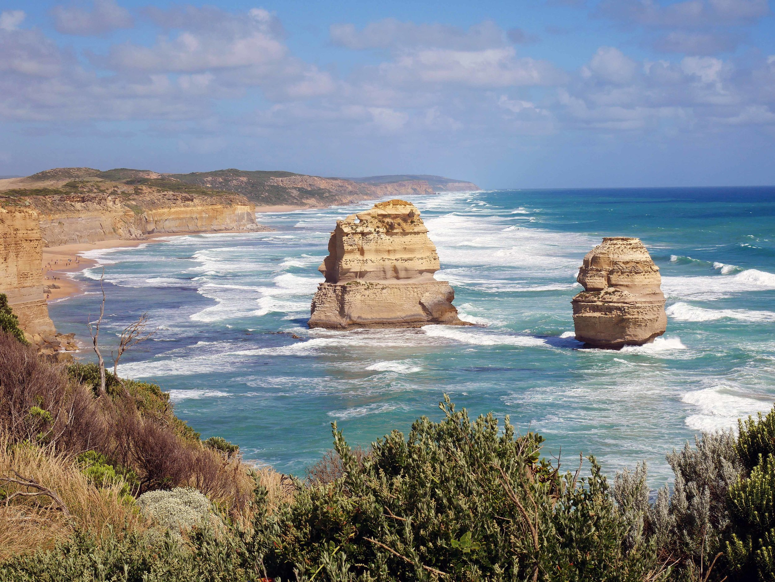 The Great Ocean Road is a magnificent 243 km drive along Australia's southern coast, west from Melbourne (Jan 24).