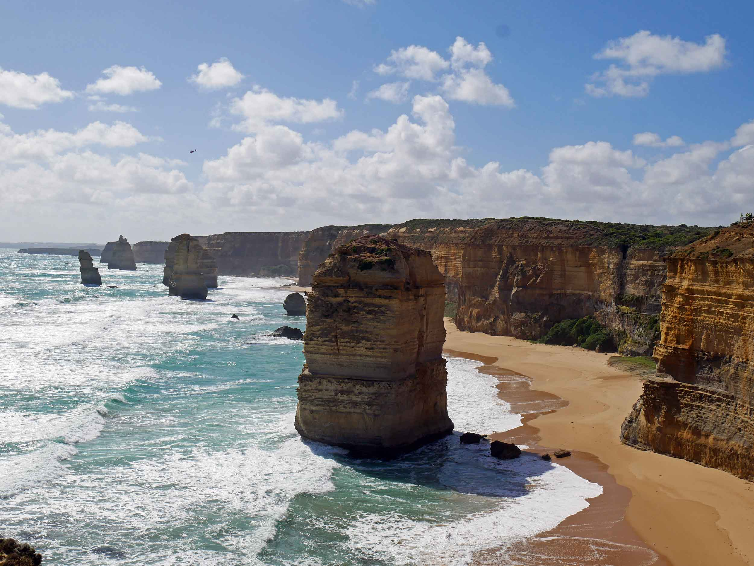 The 12 Apostles, which are giant limestone stacks near Port Campbell,are constantly changing both is shape and number (Jan 24).