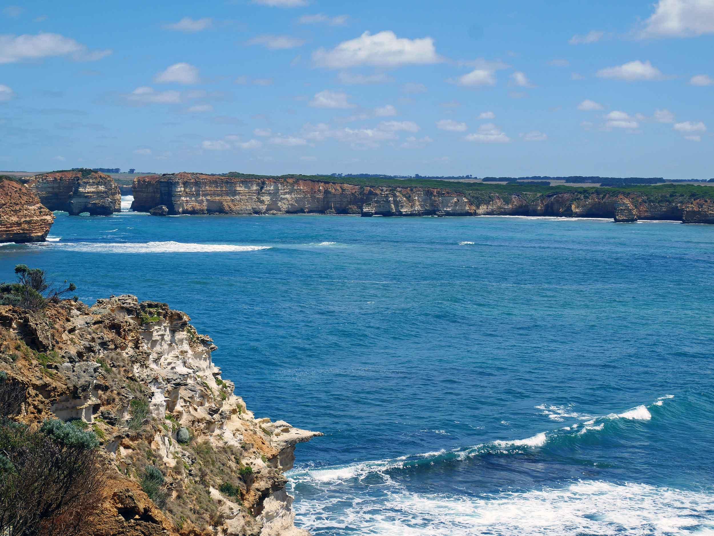 The rugged coastline along the Great Ocean Road, near Bay of Islands (Jan 25).