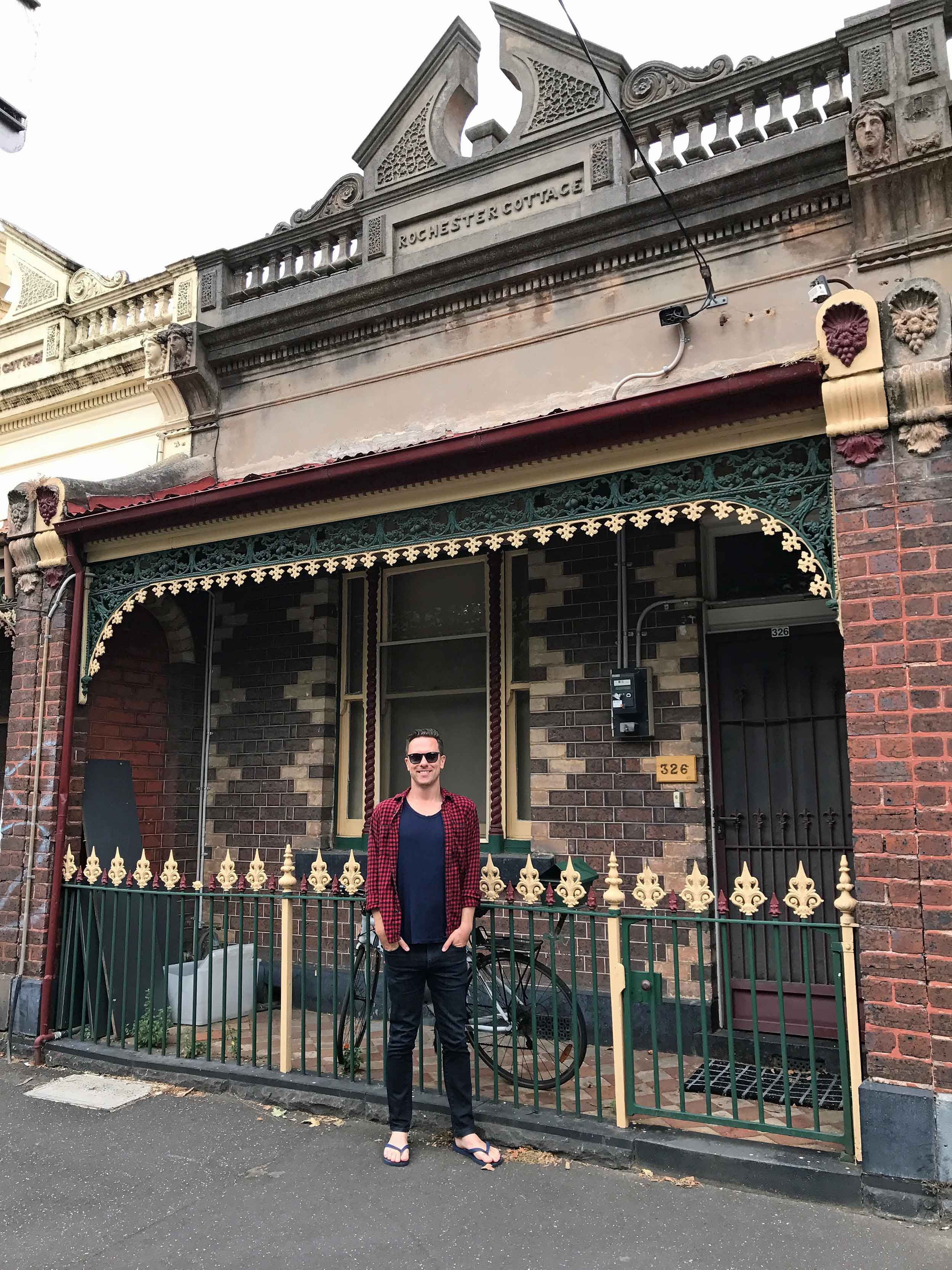 The prodigal son returns! Martin's former terrace apartment on Rathdowne Street in North Carlton, Melbourne (Jan 26).