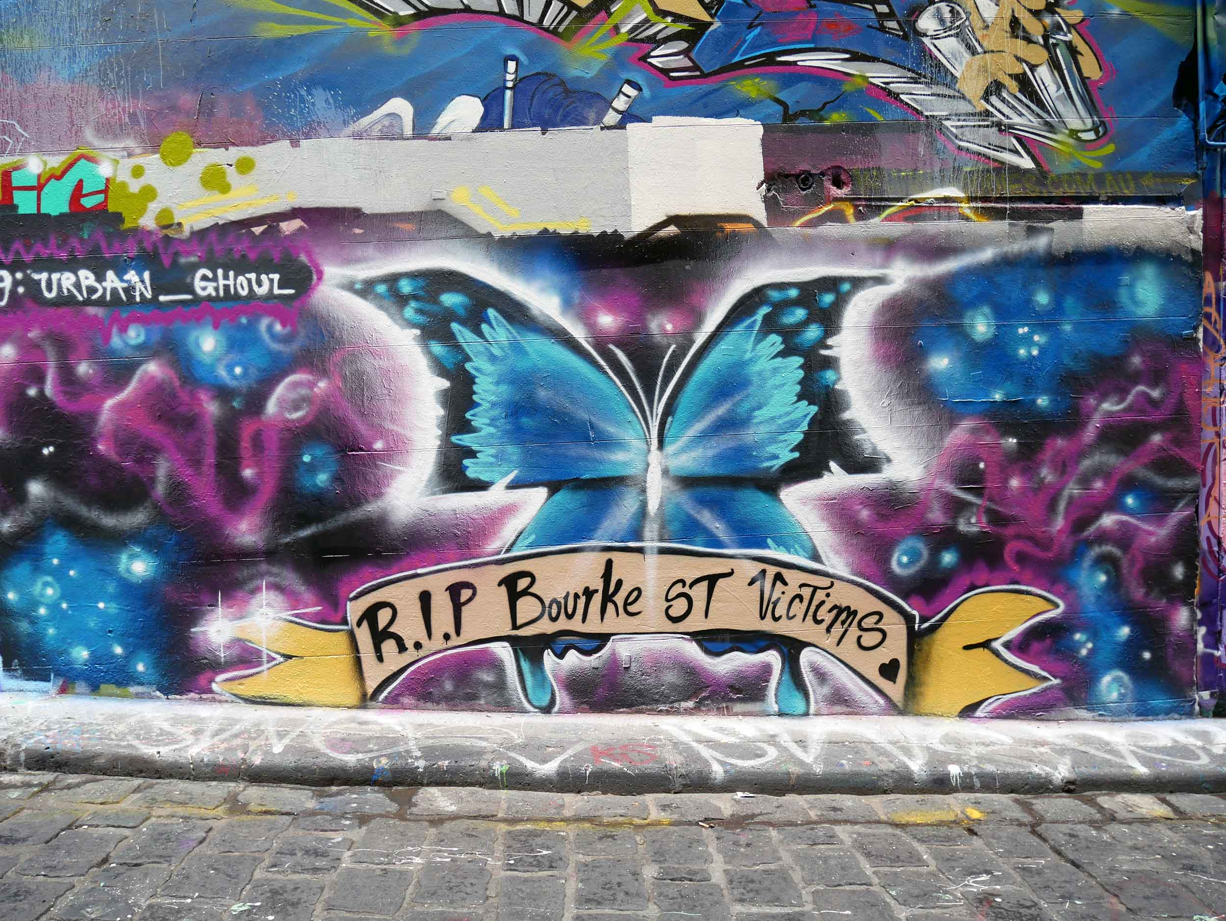 The small street changes daily (hourly?) and already presented a tribute to the victims of the tragic event on Bourke Street just days before (Jan 26).