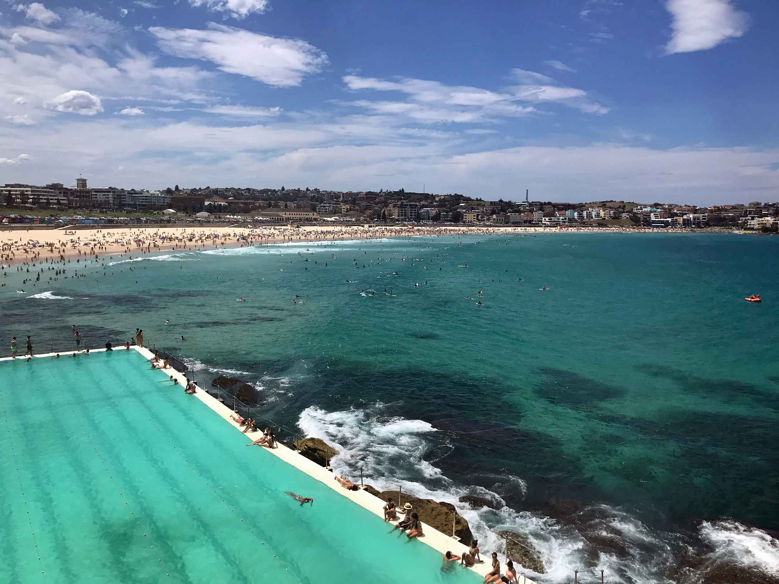 Taking in lunch and a view of the iconic Iceberg's Pool of Bondi Beach (Feb 5).