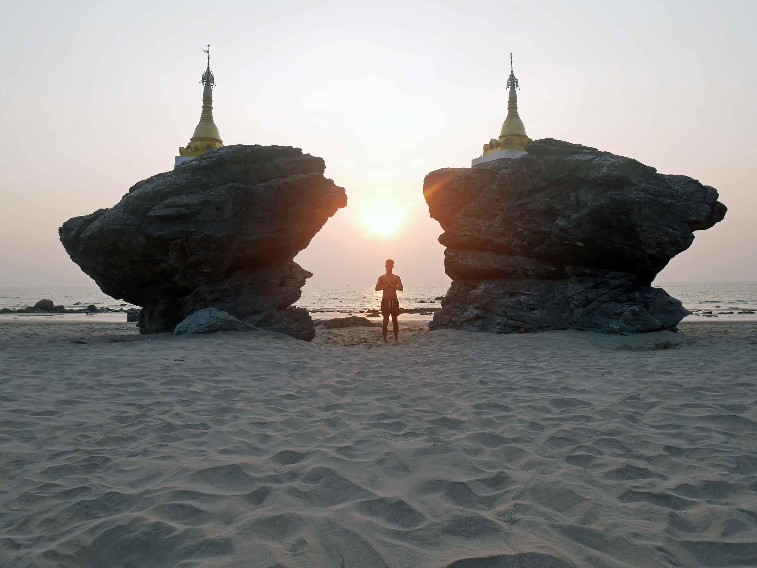 Martin taking pause at Kyauk Maumghnama Pagoda, or 'brother and sister rocks'.