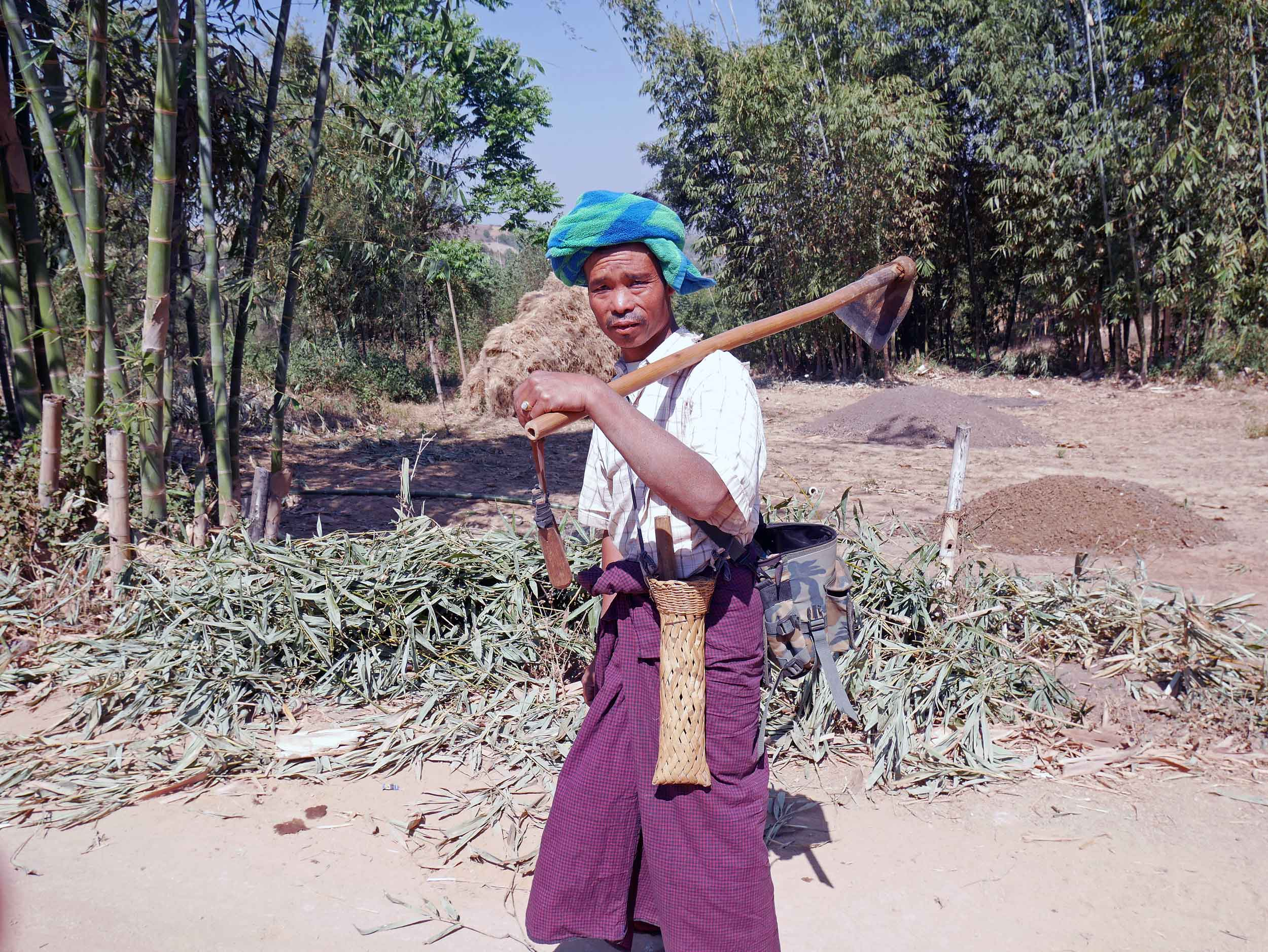 We witnessed much of daily farm life as we passed by on the trail to Inle Lake (Feb 20).