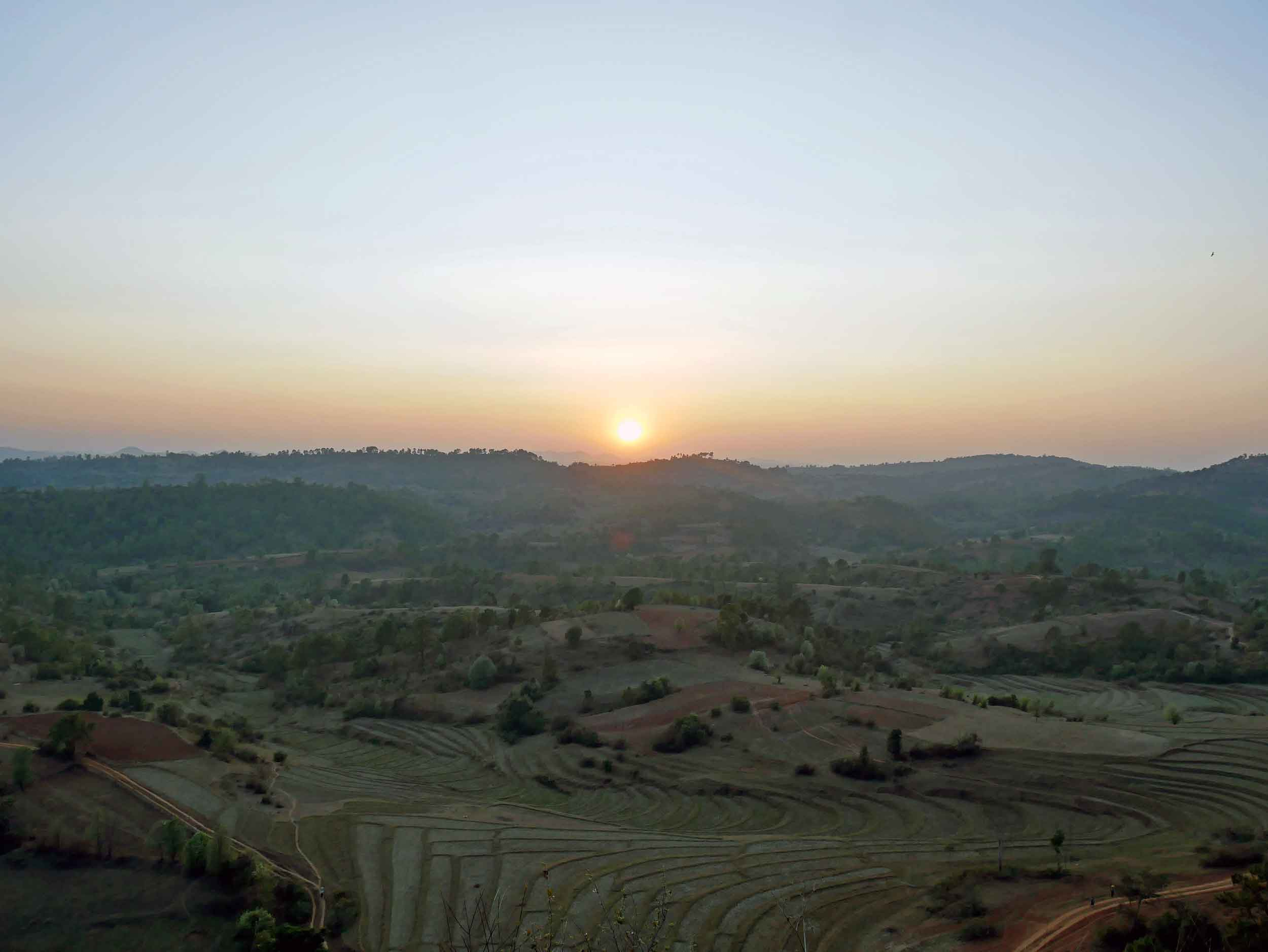 We took in a panoramic view over the fields and hills of Burma as the sun sat on our first day of walking (Feb 20).