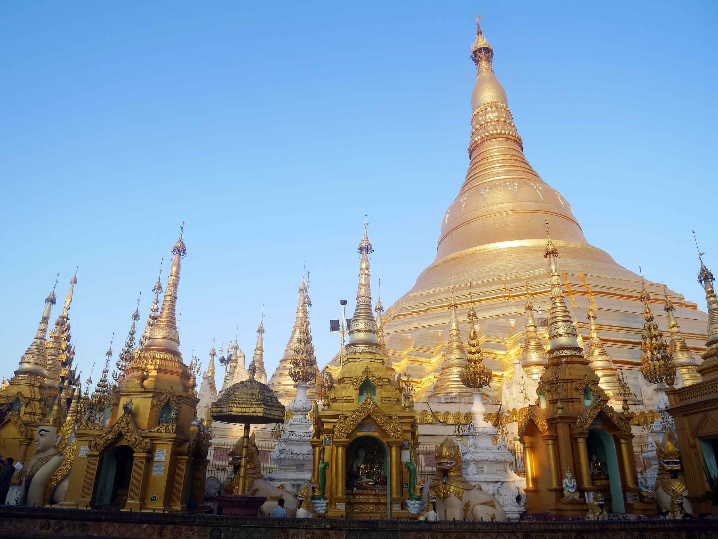 During sun rise as the sky changes color so too does the gold-leaf of the glimmering pagoda (Feb 9).