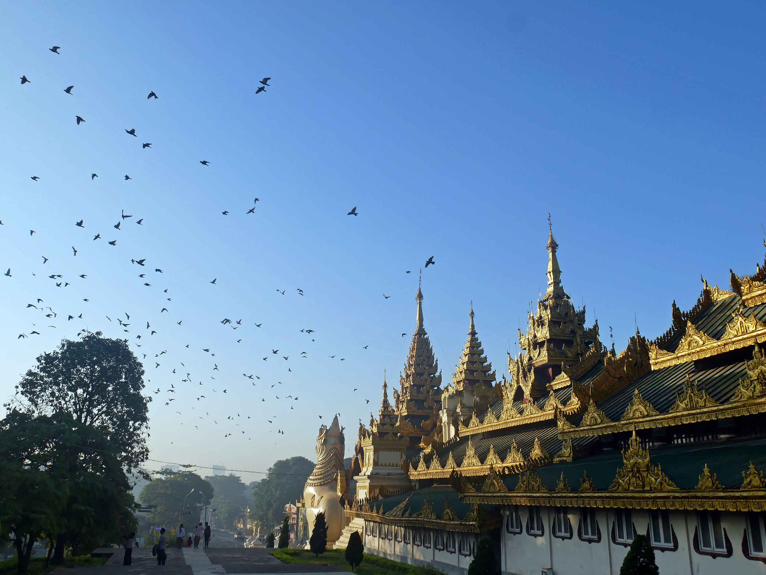 The sprawling Shwedagon complex is dotted with small shrines and temples surrounding the main pagoda (Feb 9).