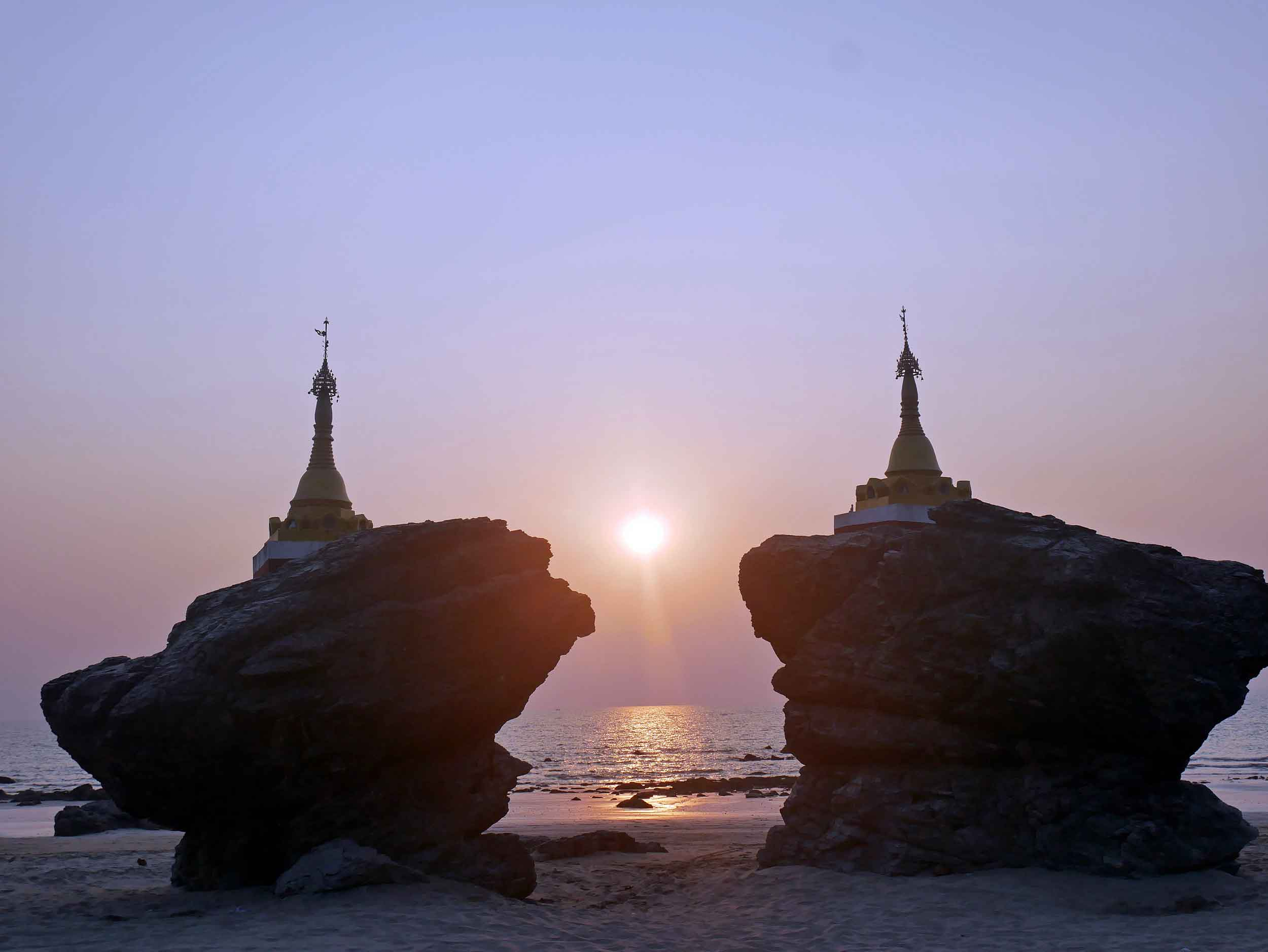 Kyauk Maumghnama Pagoda (or brother and sister rocks) provides a still space to soak up sunset (Feb 13).